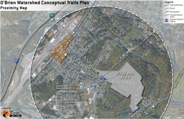 Proximity map for the Unicoi County Bike Park at the O'Brien Watershed