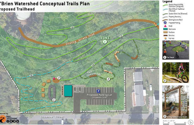 Proposed layout and trailhead for the Unicoi County Bike Park at the O'Brien Watershed